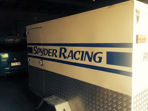 Here is the design for the signage on the Spyder Racing team trailer. It may be